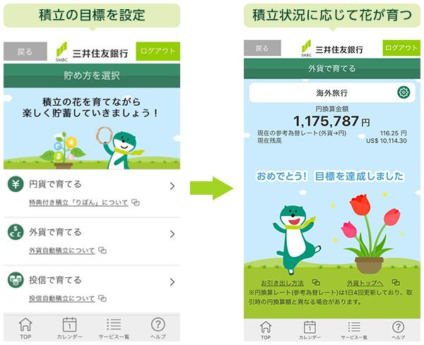 『三井住友銀行アプリ』「積立目標設定機能」