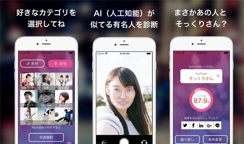 自分の顔に似ている有名人を診断するアプリ「そっくりさん」