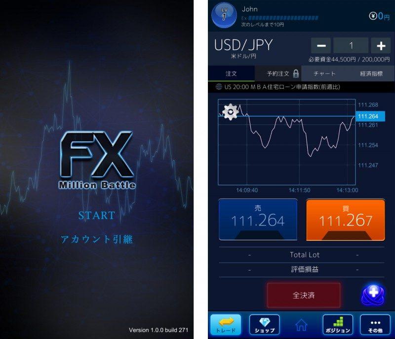 デモトレードアプリ「FXミリオンバトル」0