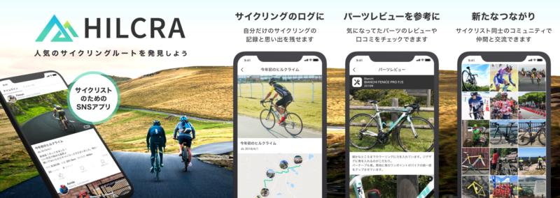 サイクリスト向けSNSアプリ「HILCRA」