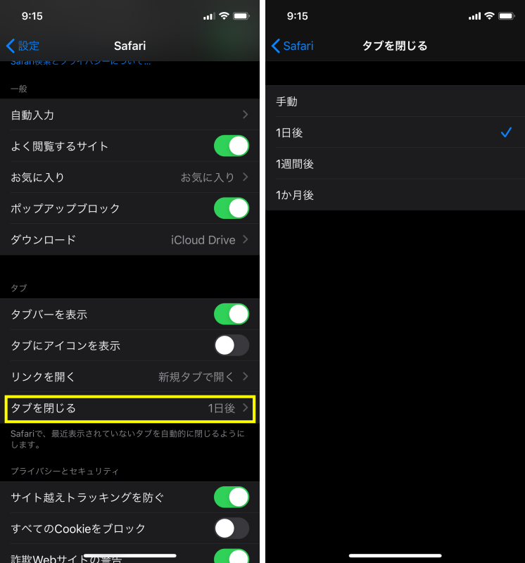 iPhoneのSafariのタブを自動で閉じる方法2
