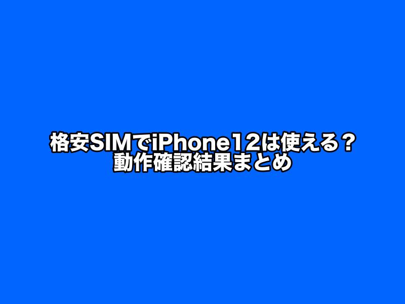格安SIM,iPhone12での動作確認結果まとめ