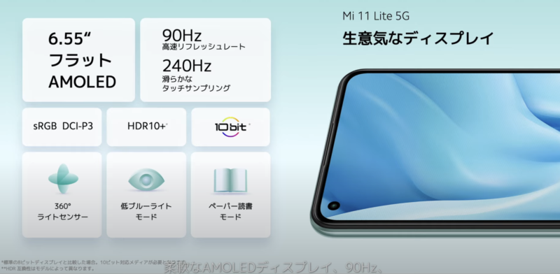 Mi 11 Lite 5Gのディスプレイについて