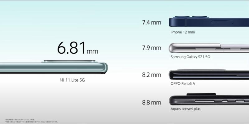 Mi 11 Lite 5Gは軽くて薄いデザインが魅力